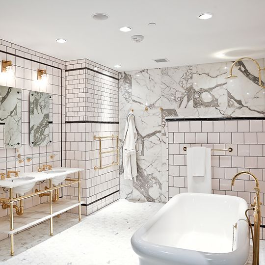 Beautiful Waterworks bath, marble and handmade tile with open washstand