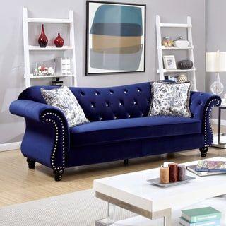 Furniture Of America Tese Traditional Purple Fabric Nailhead Sofa