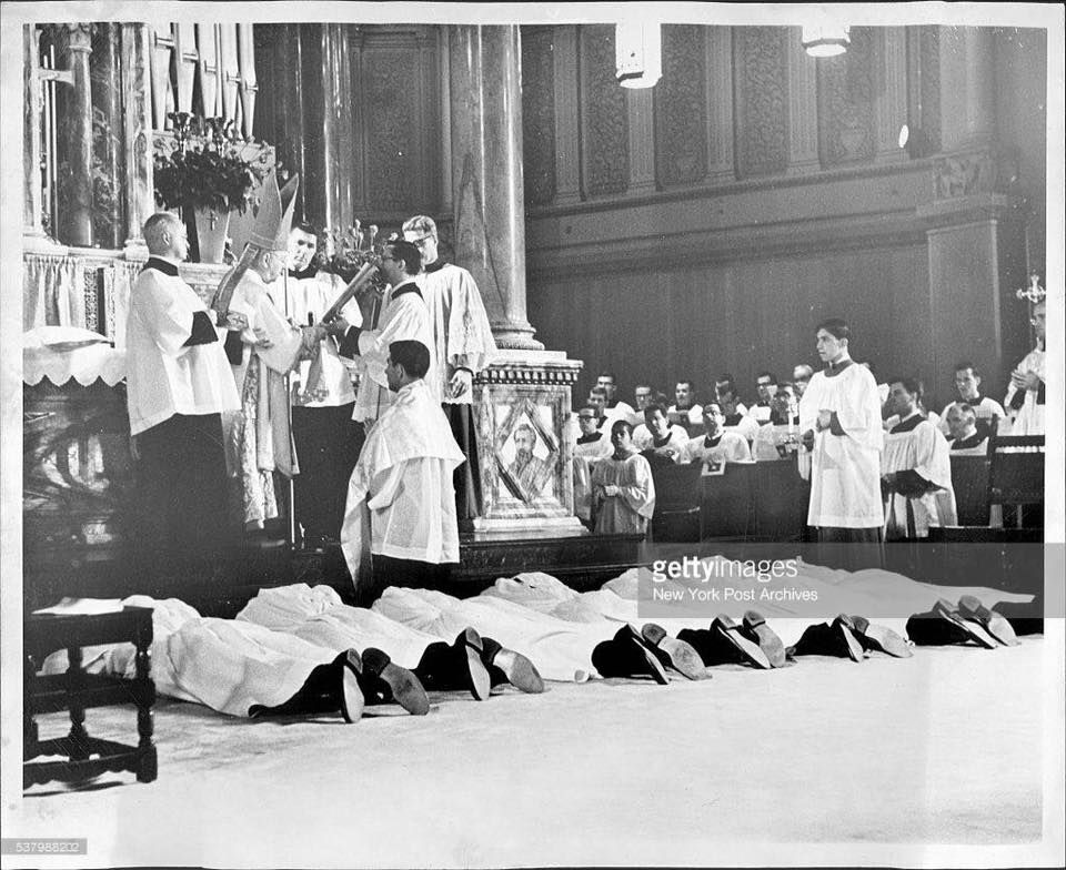 The Ordinands Lie Prostrate On The Floor As Cardinal Spellman Prays During Our 1966 Ordination Mass At The Church Of Paul The Apostle New York Post Ordination