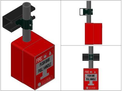 Pulsador De Alarma De Incendio 3d En Dibujo De Autocad Bibliocad Alarmas De Incendio Pulsador Autocad