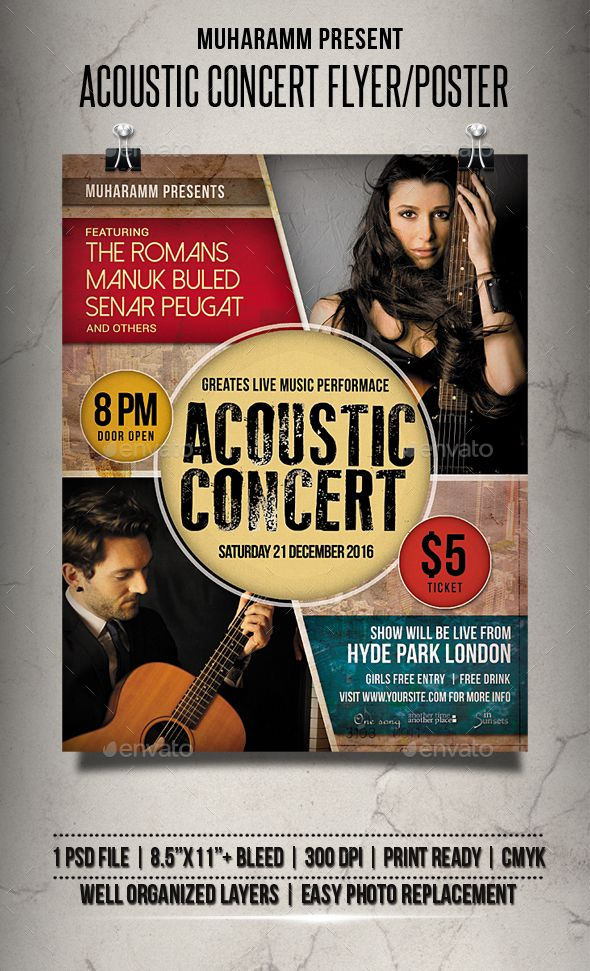 acoustic concert flyer poster photoshop psd band concert