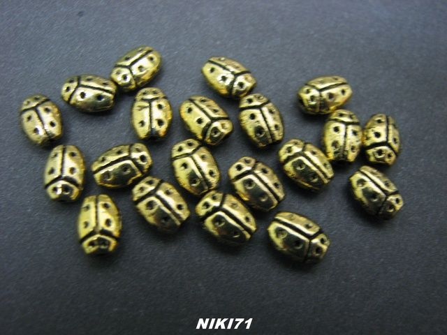65 Gold Tone Ladybug Beads. Starting at $5 on Tophatter.com!