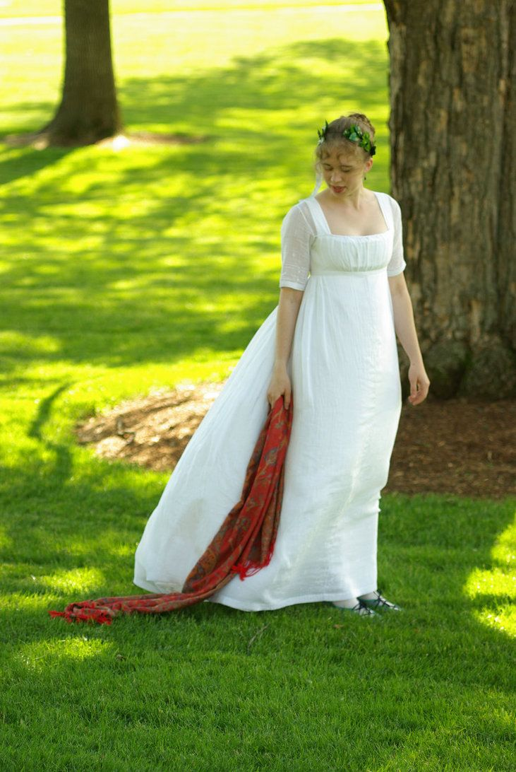 White muslin regency dress