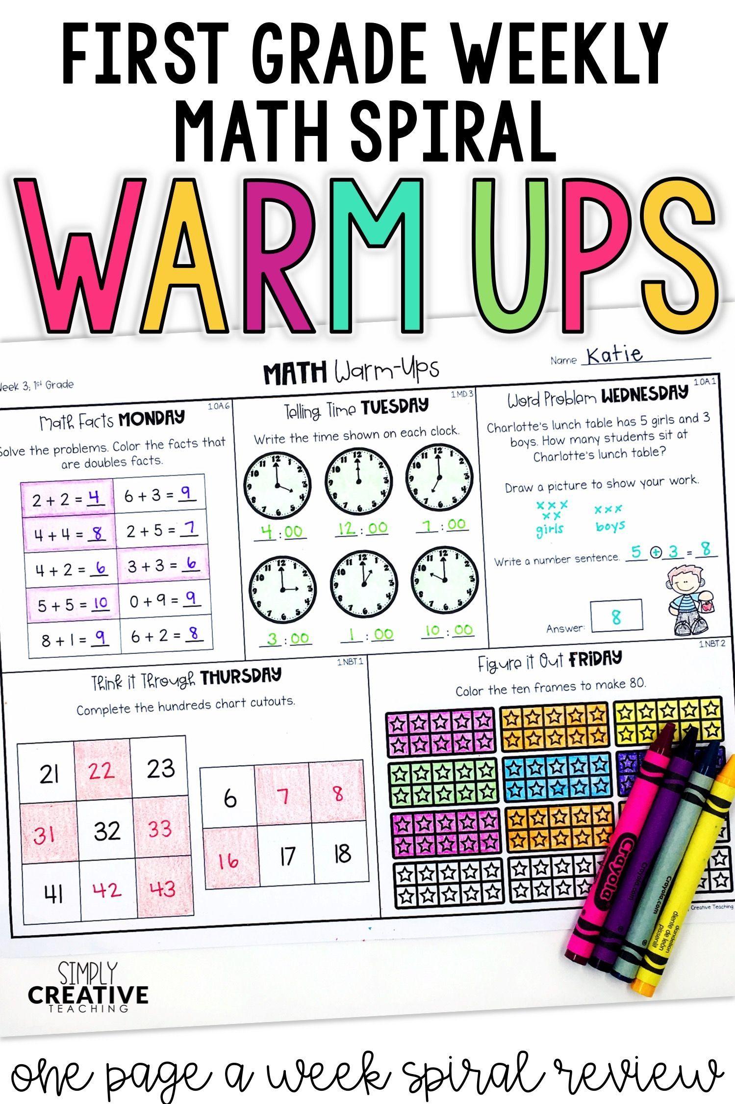 1st Grade Weekly Math Warm Ups Amp Daily Spiral Review