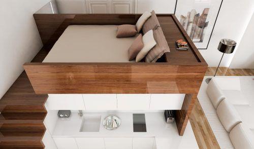 Best Bed For Studio Apartment Mezzanine Separate Bathroom