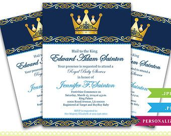 Charming Personalized King Prince Royal Baby Shower, Gold Crown Royal Baby Shower  Printable DIY Party Invitation For Boy   ONLY Digital File