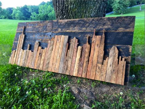 Hand Crafted Reclaimed Nashville Skyline