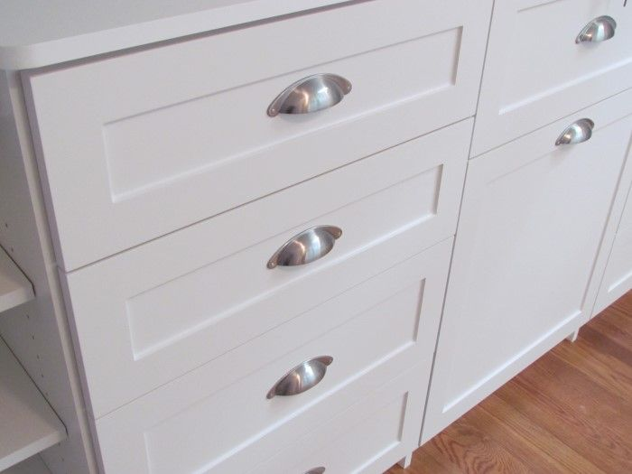 Shaker Drawer Faces Google Search White Shaker Cabinets Brushed Nickel Cup Pulls Bin Pulls Kitchen Cabinets