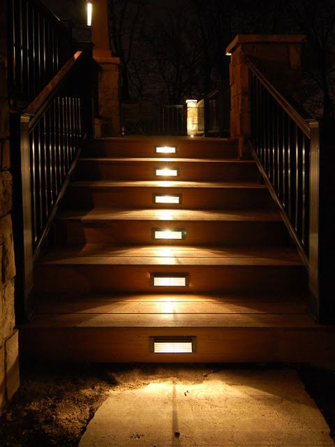 Outdoor Stair Lighting: Elegant Outdoor Wooden Staircases With LED Lamps
