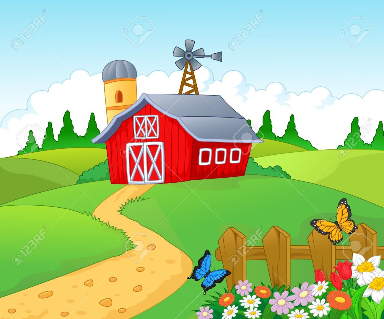 27656550-Farm-cartoon-background--Stock-Vector-landscape.jpg (1300 ... for Farm Garden Clipart  545xkb
