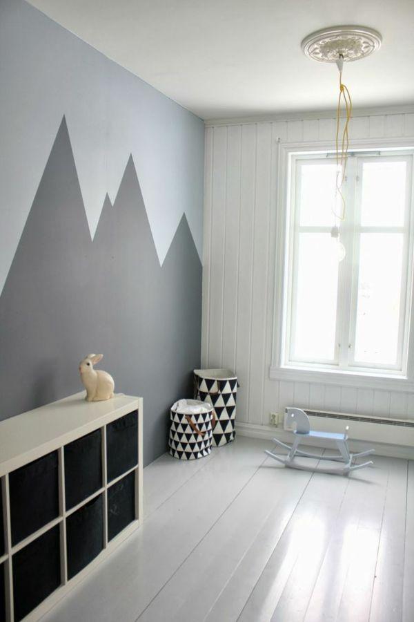 Wohnideen Wandbemalung Kinderzimmer Geometrische Gestaltung: