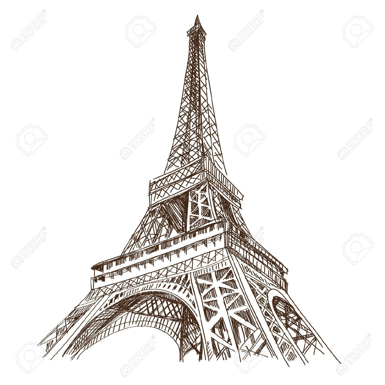 eiffel tower vector hand drawn eiffel tower paris vector illustration paint pinterest. Black Bedroom Furniture Sets. Home Design Ideas