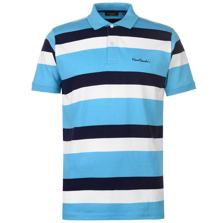 Pierre Cardin Mens Button Down Polo Shirt Classic Fit Tee Top Short Sleeve
