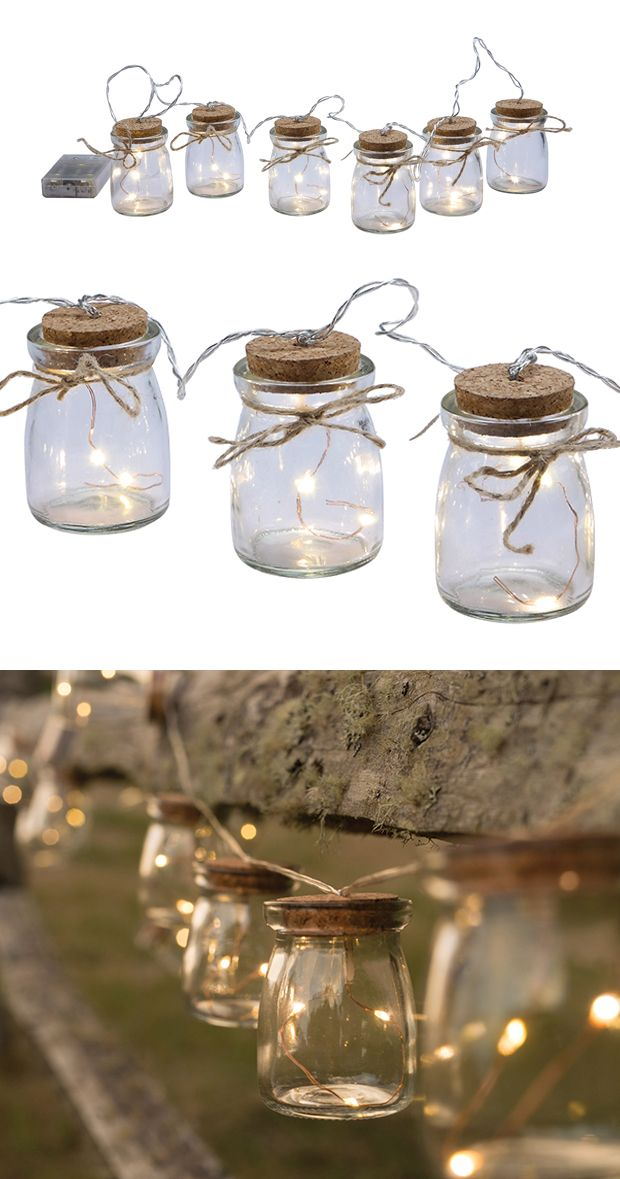Set the mood at your next home-hosted soiree with the help of this charming Mason Six-Light Strand. Modeled after the iconic glass jar, each charming clear glass shade houses tiny, twinkling LED lights...  Find the Mason 6-Light Strand, as seen in the String Lights Collection at http://dotandbo.com/category/lighting/decorative/string-lights?utm_source=pinterest