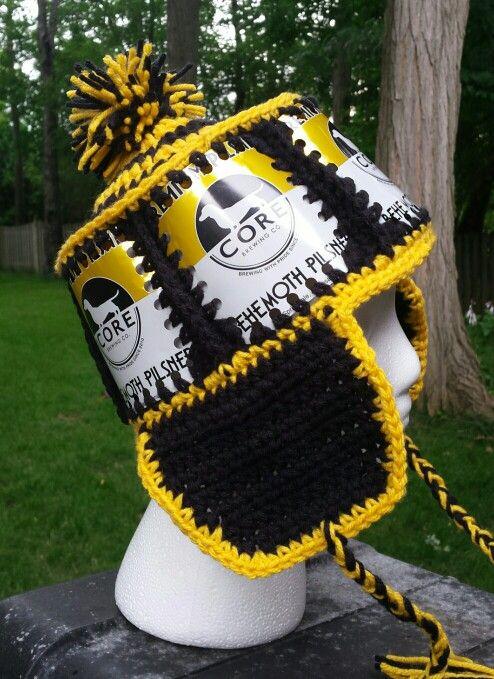 Beer can crochet hat Fishlipsthemadhatter on facebook | Crochet beer ...
