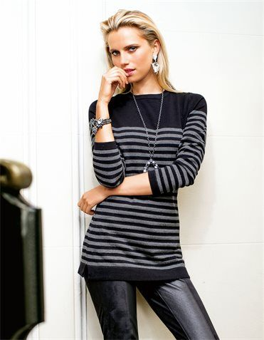 Black Leather pants & a Black/Gray Striped Pullover.
