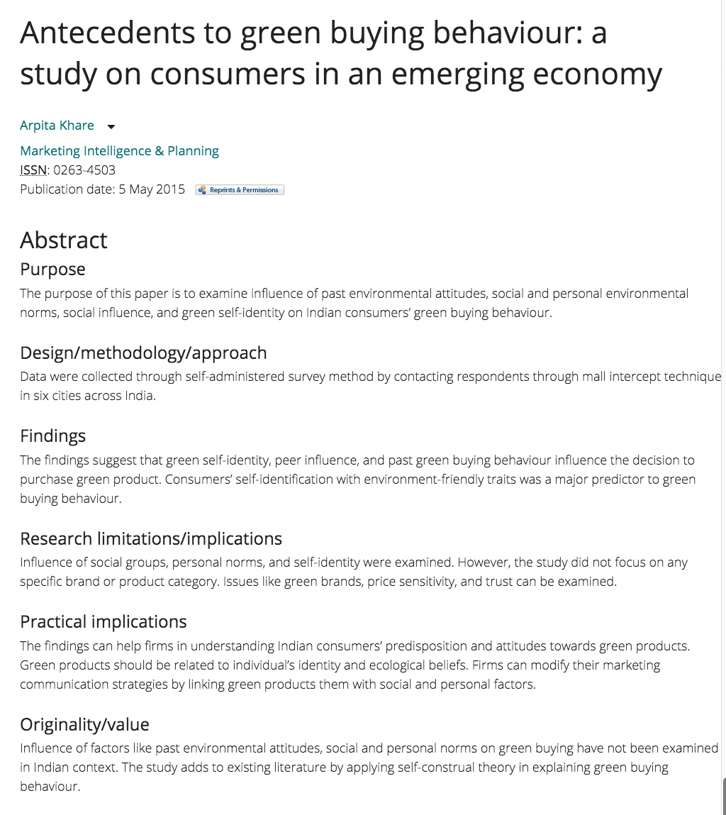 Khare A 2015 Antecedents To Green Buying Behaviour A Study On Consumers In An Eme Social Influence Marketing Communication Strategy Peer Influence