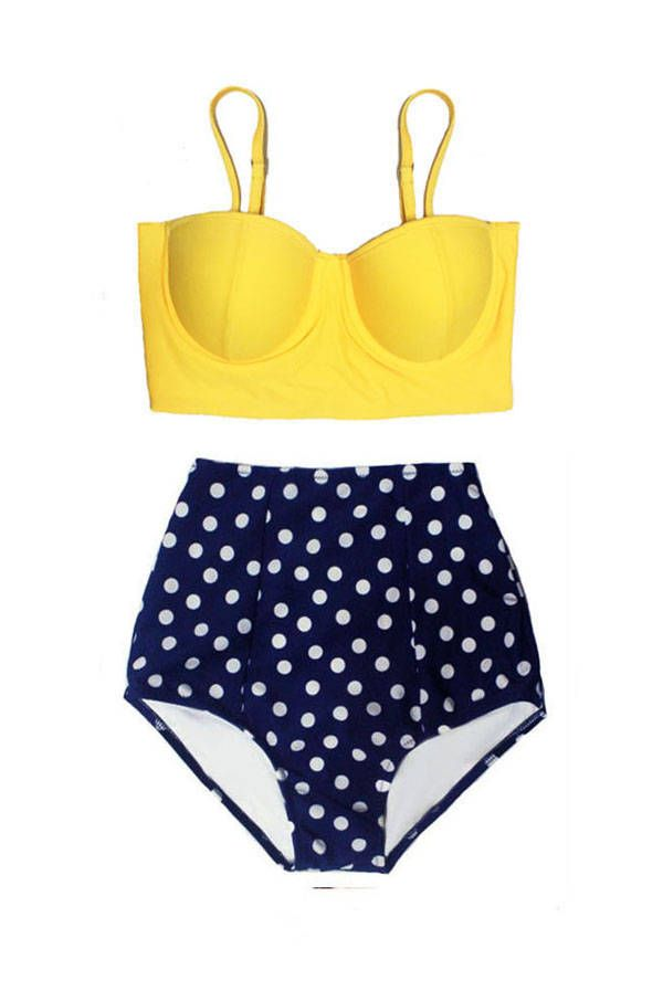 cdaf0647e8 Yellow Midkini Top and Navy Polka dot Highwaisted High Waisted Waist High-Waist  Bikini set Swimsuit Swimsuits Swimwear Bathing suit S M L XL by Venderstore  ...