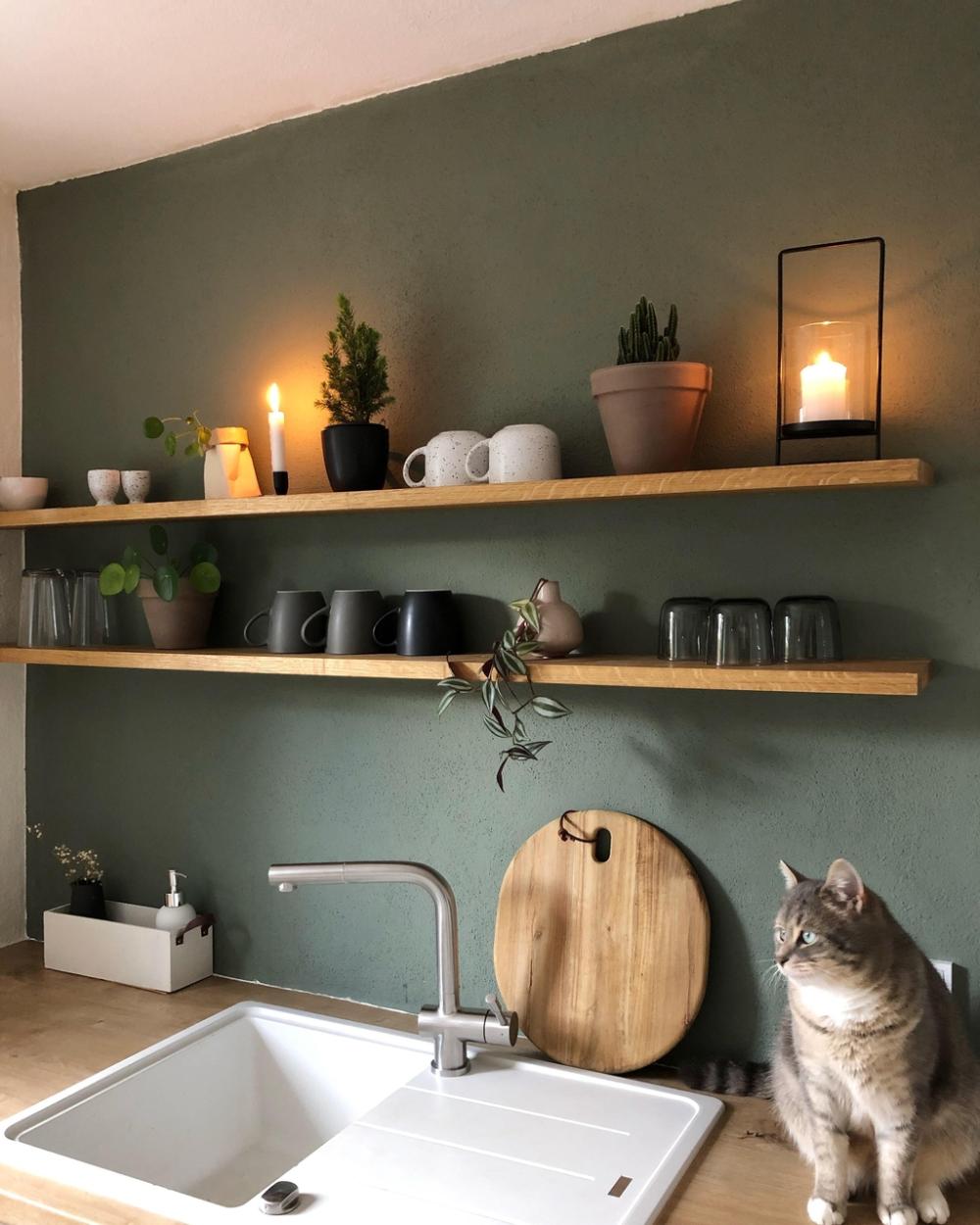 küche regal wandfarbe grün katze holzregal minitannenbaum ...