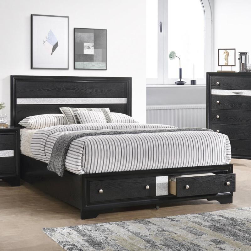 Crown Mark Regata Collection Black Queen Bed Bedroom Sets Black Queen Bed Bedroom Storage