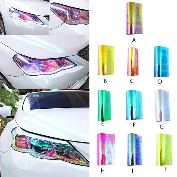 12 Color Luxury Car Headlight Fog Light Taillight Vinyl Film Wrap Sticker DIY