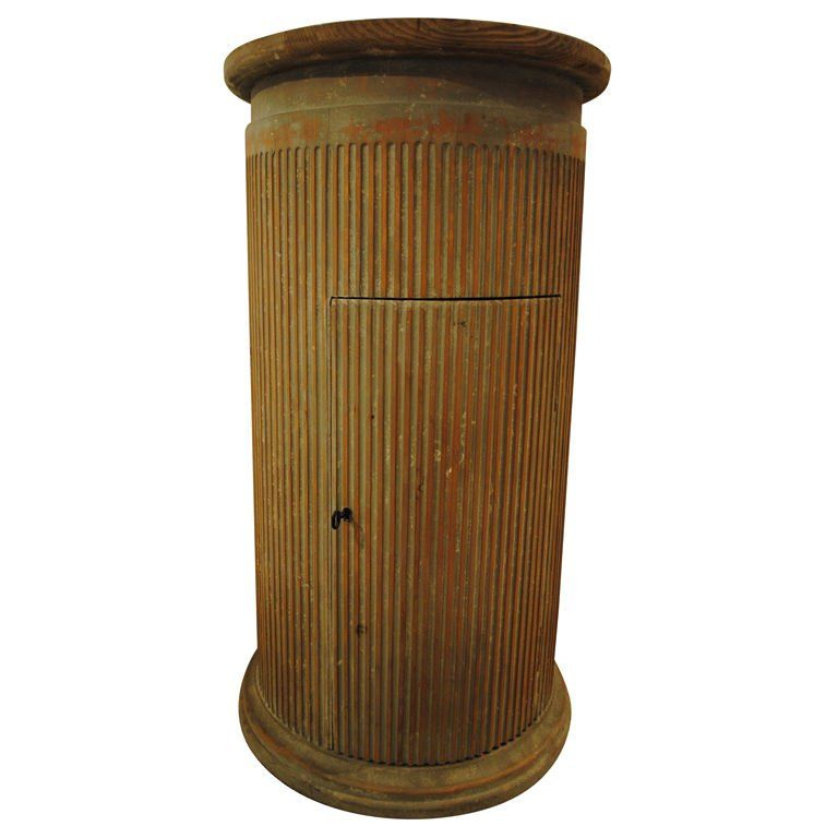 Fluted Wood Column Pedestal W/ Door