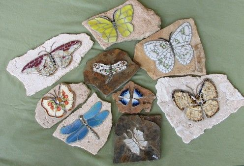 A mix of vintage china and stained glass #butterflies