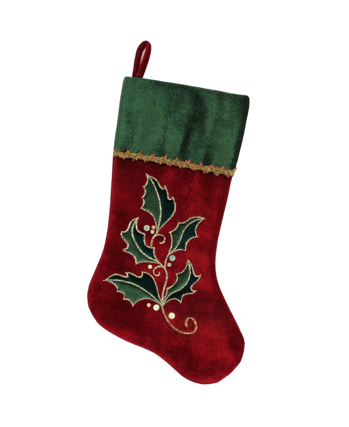 Northlight Holly Embroidered Christmas Stocking With Gold Tone Metallic Trim R Velvet Christmas Stockings Embroidered Christmas Stockings Christmas Stockings