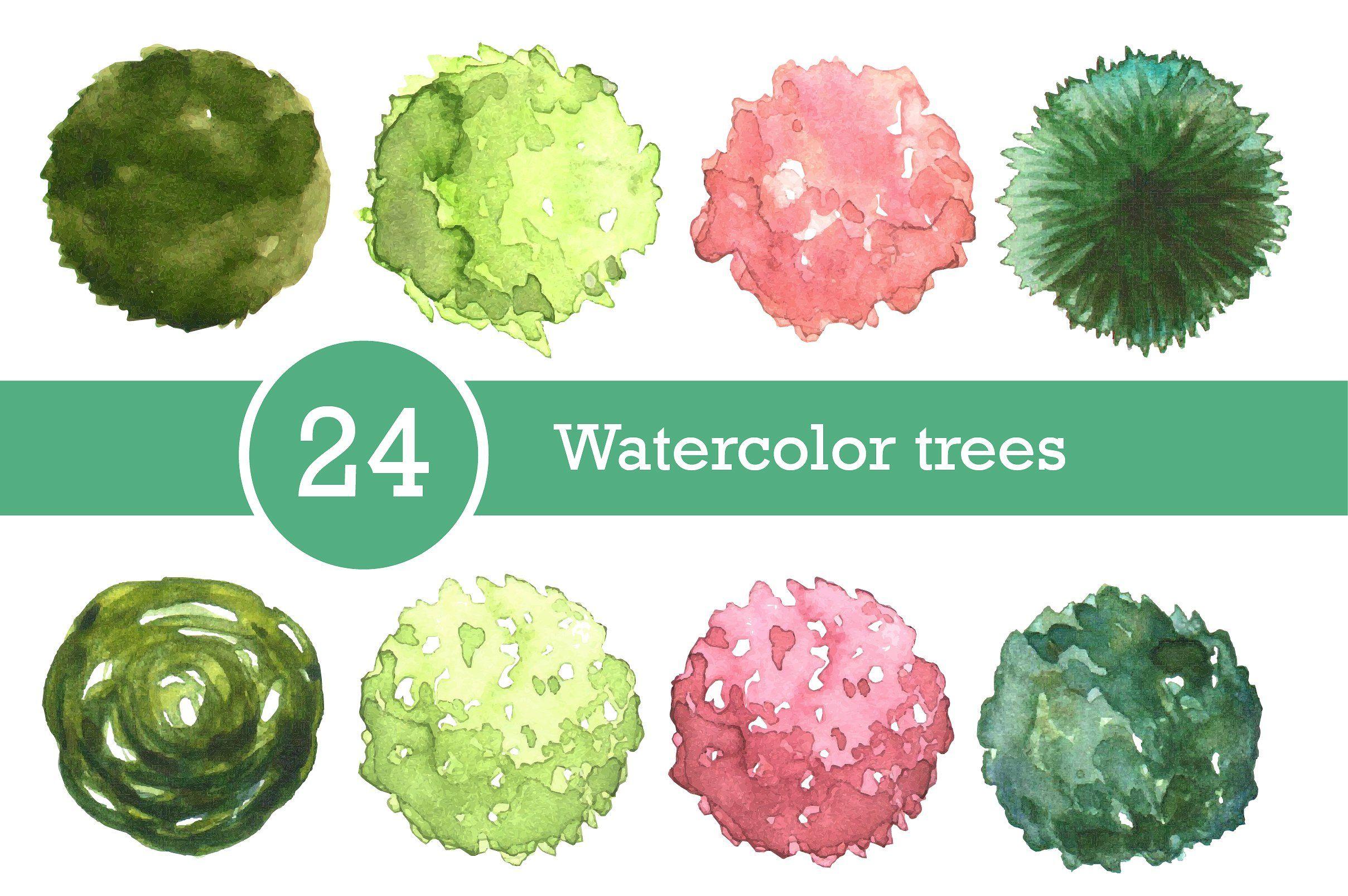 Watercolor Trees Set Top View Con Immagini Illustrazioni