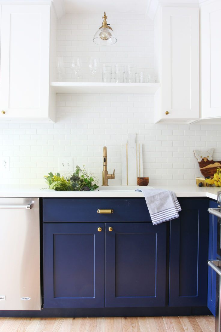 6 Day Kitchen Reno Reveal The Grit And Polish Blue Painted Kitchen Cabinets Navy Kitchen Cabinets Painted Kitchen Cabinets Colors