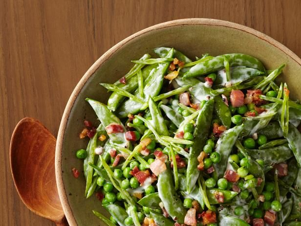 Festive easter side dishes tossed spring and lemon cream sauces creamy spring peas with pancetta recipe food network kitchen food network sweet peas and smoky pancetta is a classic combination food network forumfinder Choice Image