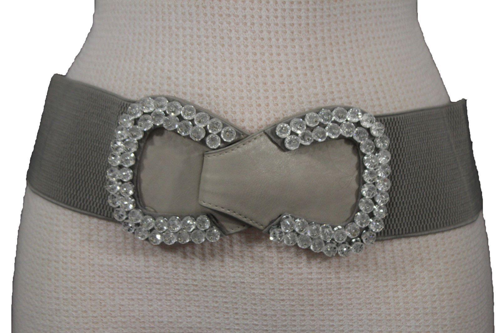 Women Silver Hook Buckle Fashion Hip Waist Corset Wide Stretch Black Belt S M