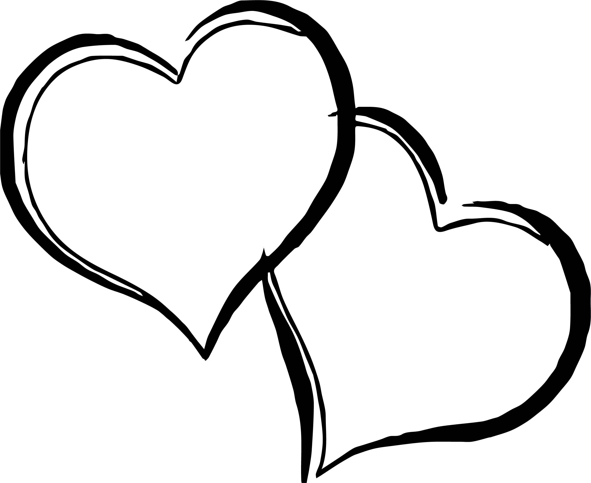Cool Any Images Two Heart Coloring Page Heart Coloring Pages