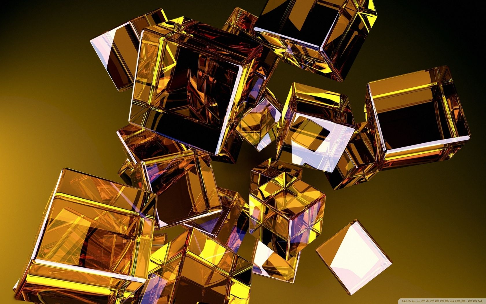 fond ecran hd cube verre abstrait