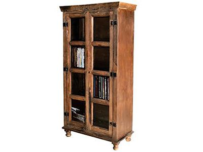 Vintage Accent Cabinet Rustic Style Glass Doors And Shelves