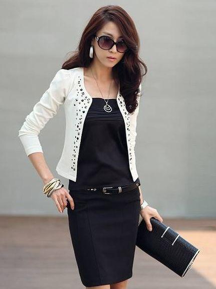 Women Fashion Rhinestone Puff Long Sleeve Slim Short Coat | Shorts ...