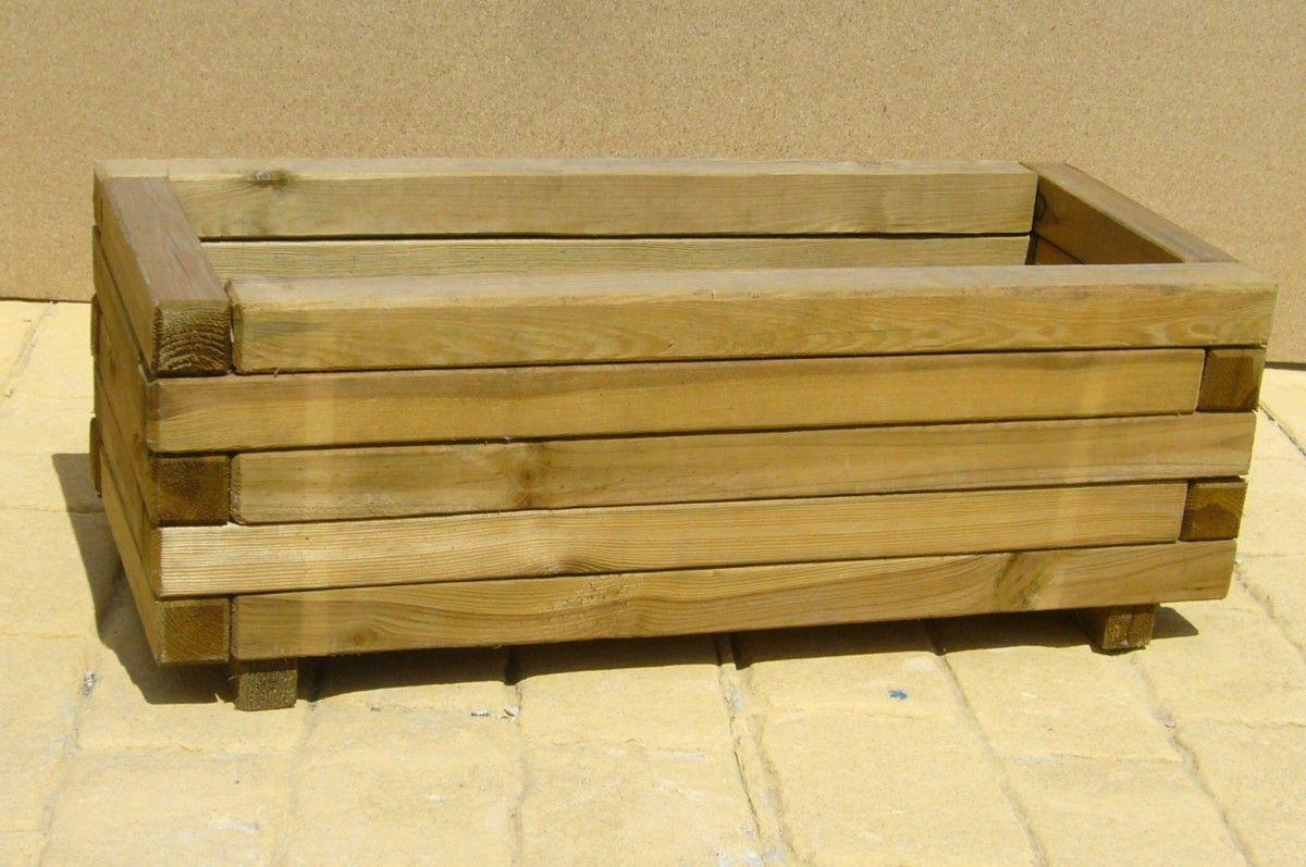 Maceta de madera 2 huerto urbano pinterest macetas - Macetas madera exterior ...