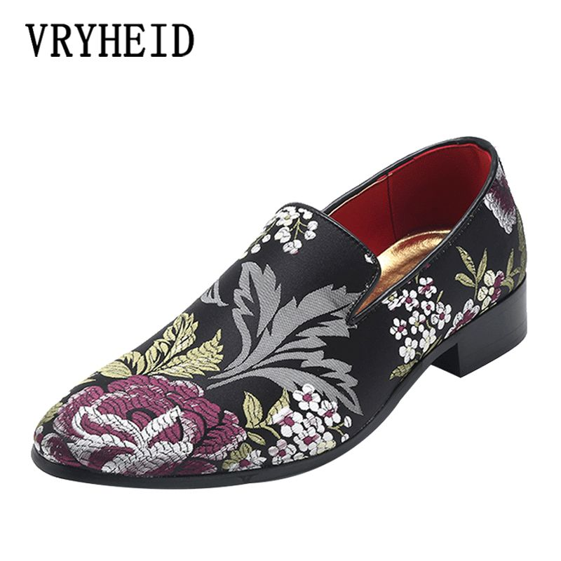 565aa3aa0c047 VRYHEID Men Shoes Luxury Brand Men Loafers Chinese style embroidery Dress Shoes  Casual Flat Velvet For