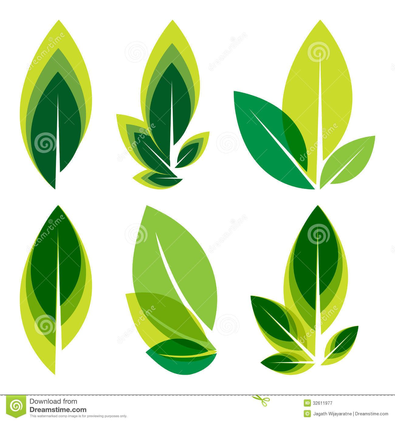 Green leaves logo set royalty free stock photography for Green design