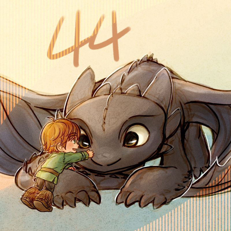 44 days left!!! —————— Yesterday I drew Hiccup and baby Toothless