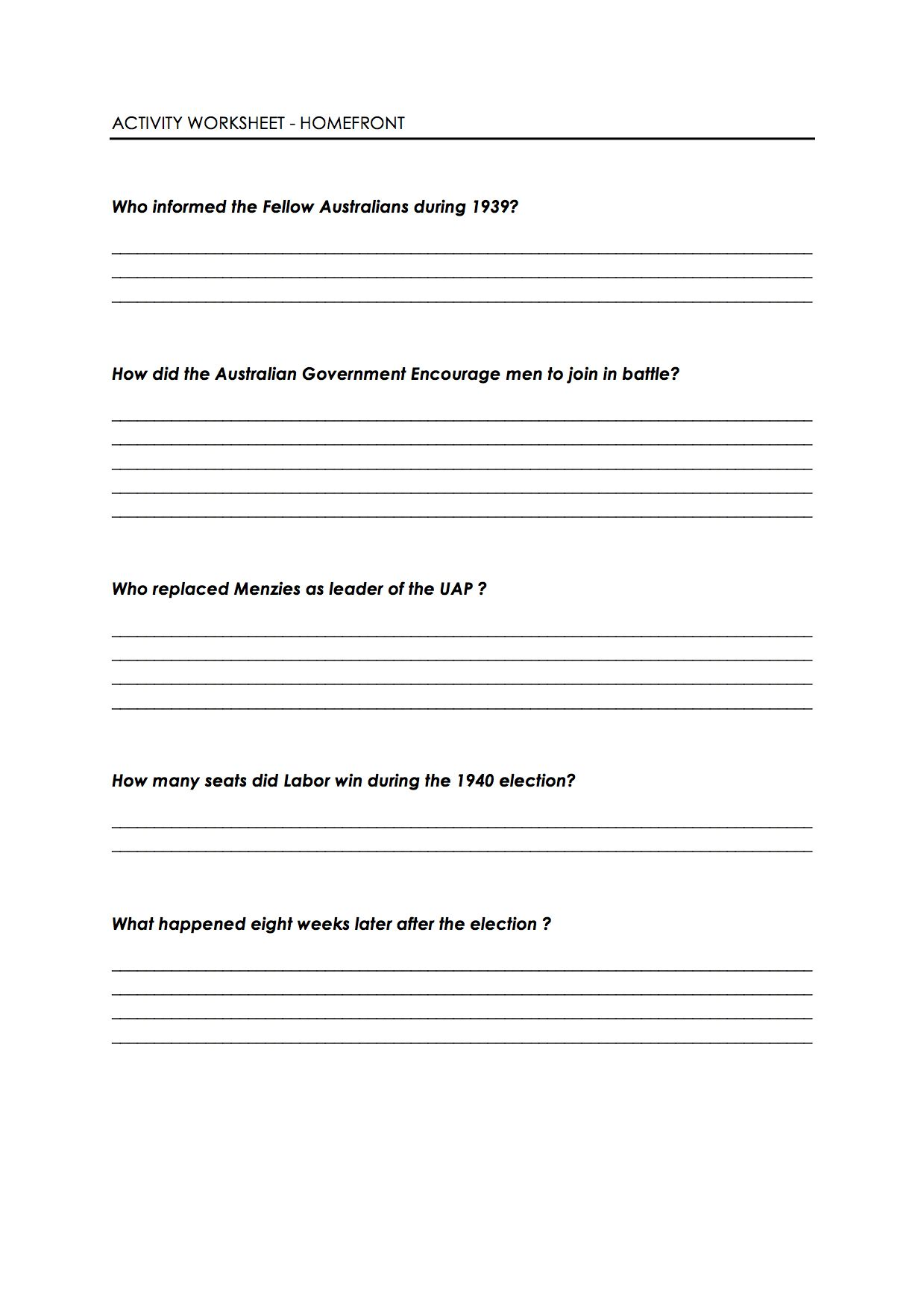 Homefront Wwii Worksheets Pinterest