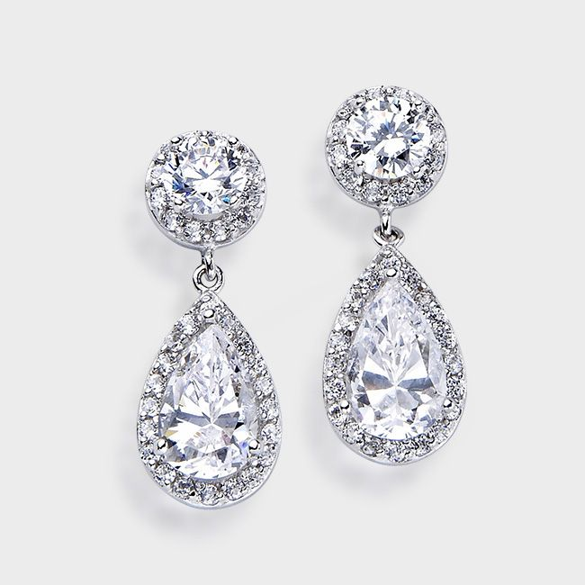High Quality Dressy Cubic Zirconia Earrings In White Gold And Yellow From Earring Designer Birkat Elyon