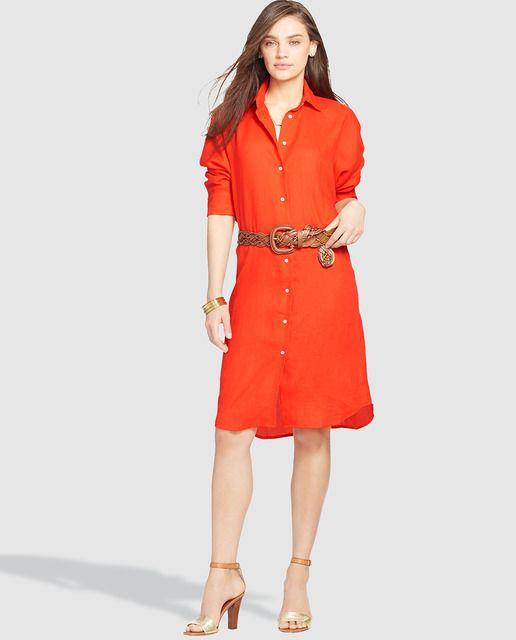 be8aab9e3f Vestido camisero de mujer Lauren Ralph Lauren en rojo Vestido Camisero