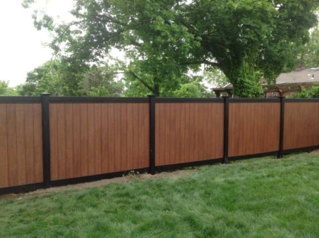 Amazing two-tone black and rosewood PVC Illusions Vinyl Fence installed by King …