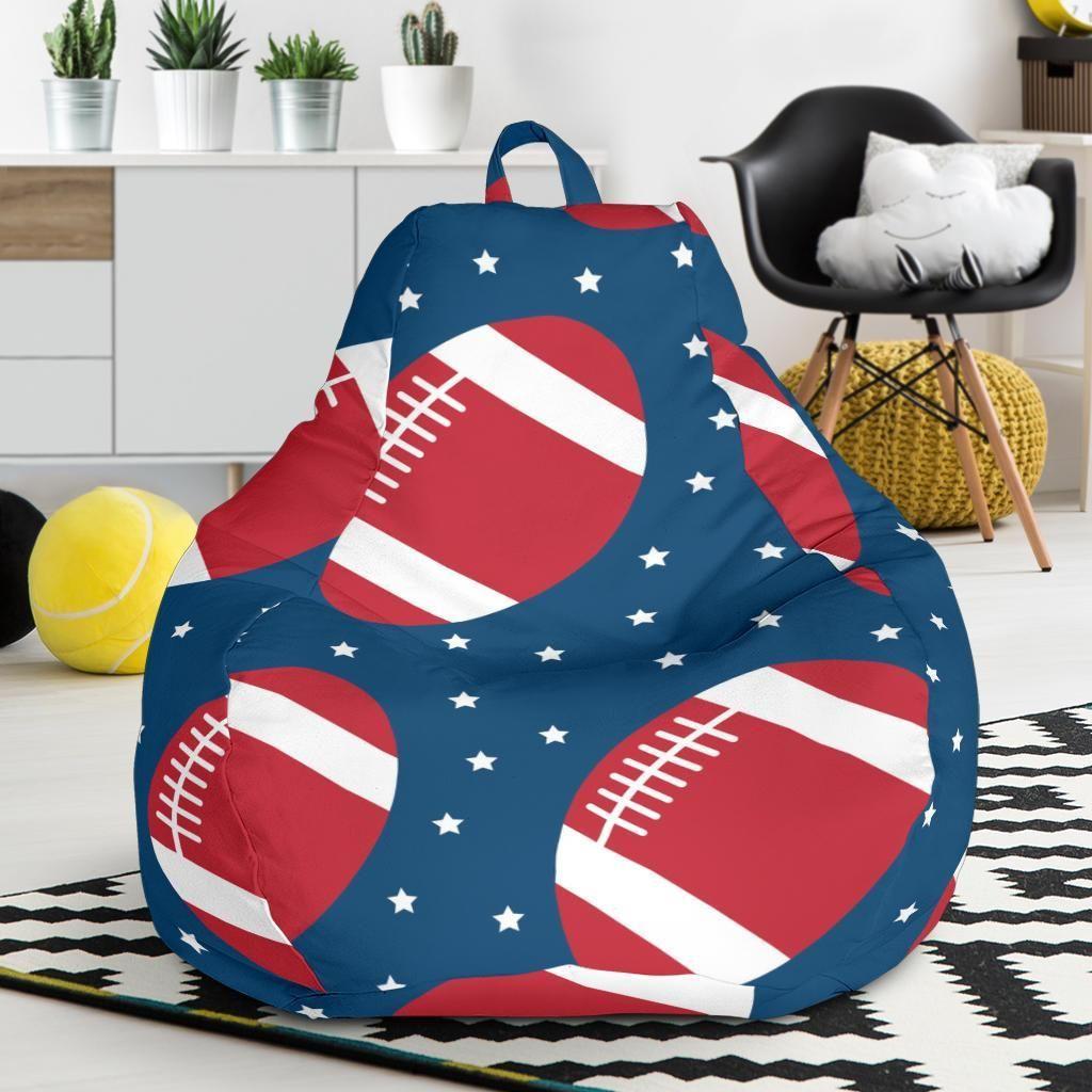 American football rugby ball print pattern bean bag chair