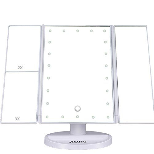Tri Fold Vanity Mirror With Lights Amazing Jiexing Vanity Makeup Mirror Trifold 22 Led Lights With Touch Screen Design Inspiration