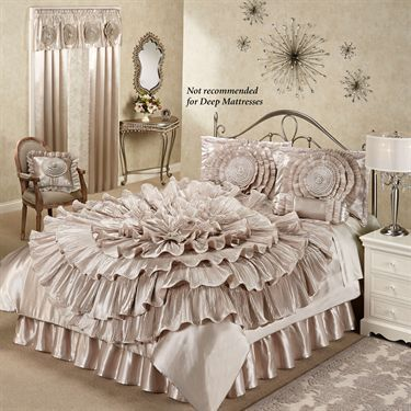 ruffled romance champagne rosette comforter bed set touch of class - Touch Of Class Bedding