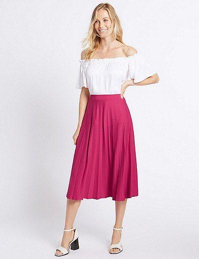 9d26028da Pleated A-Line Midi Skirt   Marks & Spencer London   Cute skirts ...