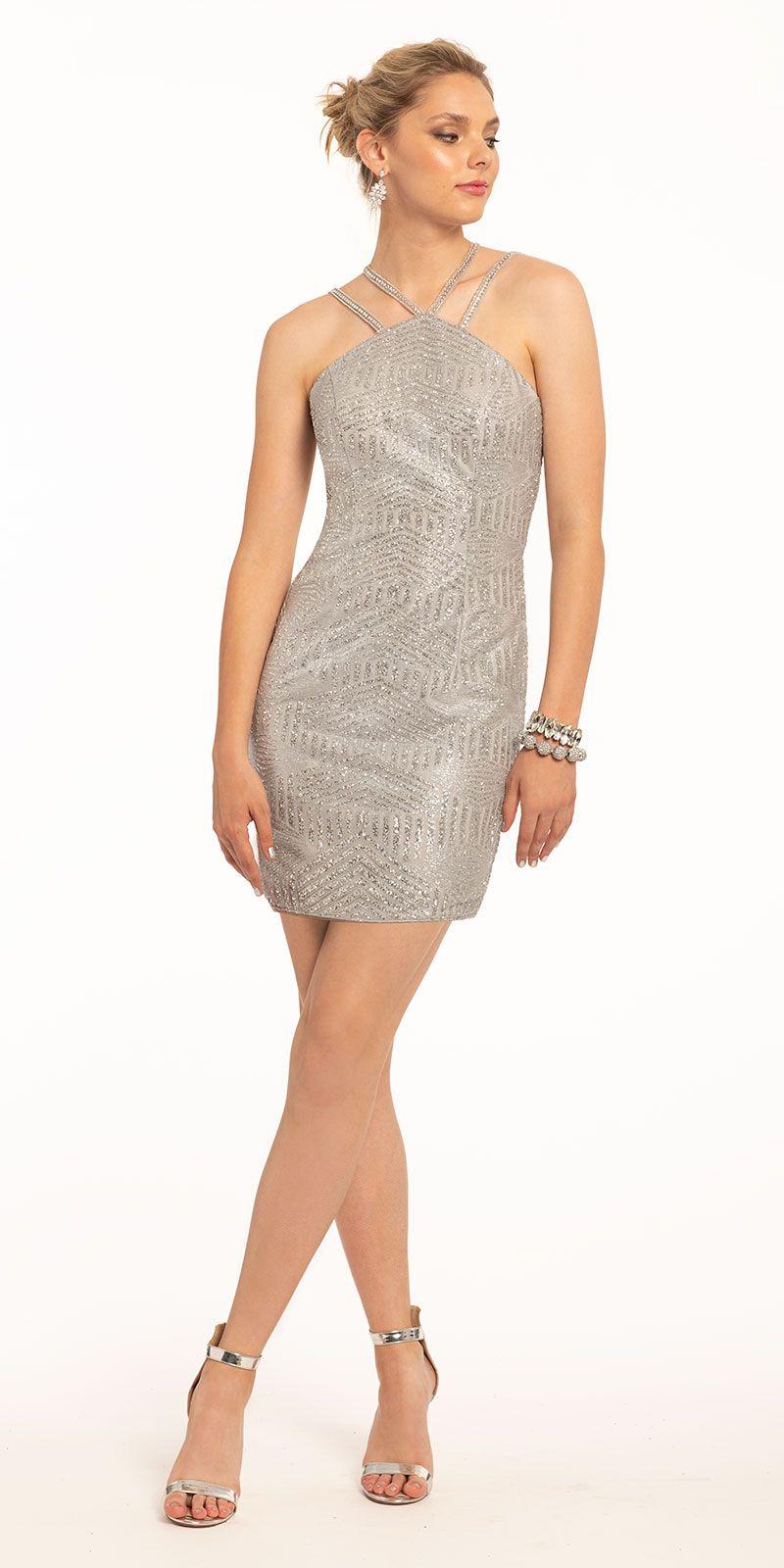 Short Rhinestone Strap Glitter Mesh Dress Short Cocktail Dress Cocktail Dress Cocktail Dress Lace [ 1600 x 800 Pixel ]