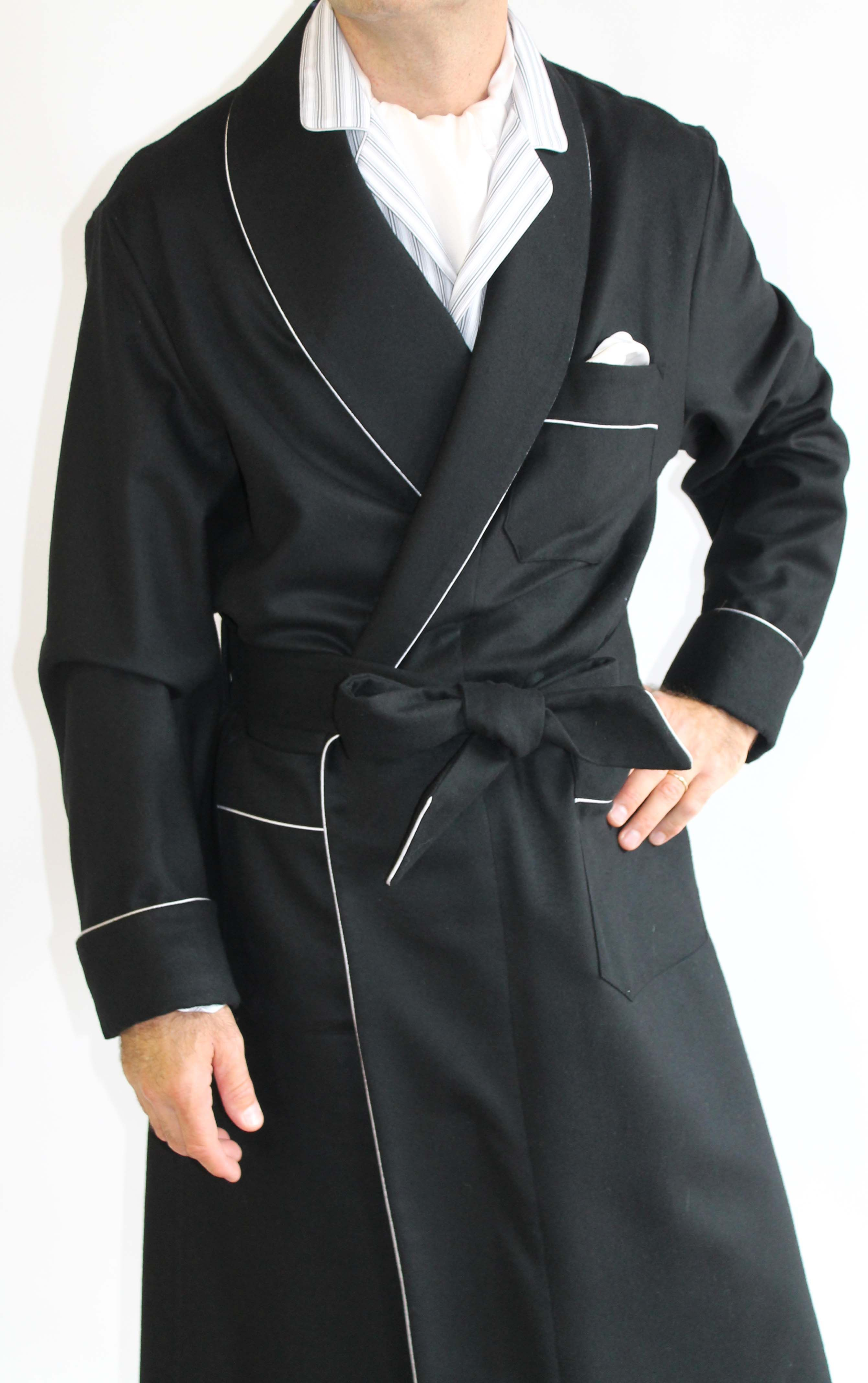 37bf37739047c CLASSIC DRESSING GOWN FOR MAN IN 100% CASHMERE PIPING AND HALF BEMBERG  LINING